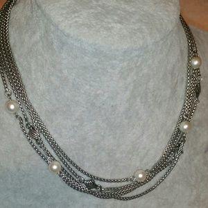 Jewelry - Silver, 5 Multi-Chain, Pearl & Textured Silver Squ